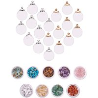 Arricraft 30pcs 16mm Mini Clear Glass Globe Hollow Clear Glass Ball Dome Bottle Vial Pendant Charms with 9 Style Synthetic Chip Beads for Pendant Charms Stud Earring Making