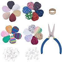 PH PandaHall 180pcs Faux Leather Earrings DIY Making Kit, 4 Style Fabric Teardrop Leather Earrings Dangle and 60pcs Earring Hooks, 70pcs Jump Rings, Jump Ring Opener and Pliers