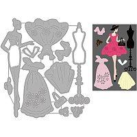 GLOBLELAND Lady Dress Cutting Dies Metal Die Embossing Stencils for DIY Card Scrapbooking Craft Album Paper Decor