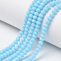 Arricraft Opaque Solid Color Glass Beads Strands, Faceted, Rondelle, Cyan, 4x3mm, Hole: 0.4mm, about 130pcs/strand, 16.54 inches(42cm)