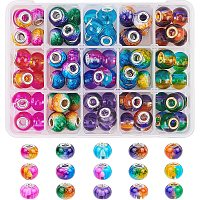NBEADS 90 Pcs Transparent Glass European Beads, 15 Colors Large Hole Rondelle Beads with Golden or Silver Color Plated Brass Cores for Jewelry Making