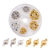 ARRICRAFT30 Sets Platinum Silver & Gold Round Magnetic Beads Clasp Magnet Converter Buckle for Bracelet Necklace Jewelry