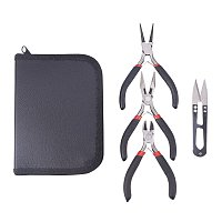 """NBEADS 3 Piece Pliers Set-4.9"""" Long Nose Plier, 4.9"""" Round Nose Plier, 4.3"""" Side Cutting Plier and Scissor Repair Tool Kit for DIY Jewelry Making with Portable Bag"""