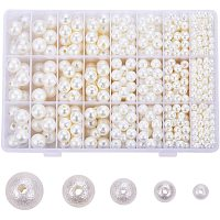 PandaHall Elite 1010pcs 5 Sizes Imitation Pearl Beads Elegant Glossy Pearl Beads for Vase Fillers, DIY Jewelry, Table Scatter, Wedding, Birthday Party Home Decoration (6mm, 8mm, 10mm, 12mm, 14mm)