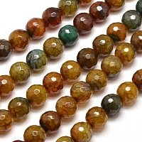 """Nbeads Dyed Natural Agate Faceted Round Beads Strands, Camel, 10mm, Hole: 1mm; about 38pcs/strand, 15"""""""