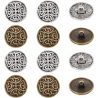 OLYCRAFT Tibetan Style Half Round Alloy Shank Buttons, Lead Free & Cadmium Free, Mixed Color, 17x7.5mm, Hole: 2mm; 2 colors, 30pcs/color, 60pcs/box