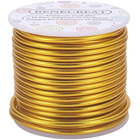 BENECREAT 9 Gauge Jewelry Craft Aluminum Wire 55 Feet Bendable Metal Sculpting Wire for Craft Floral Model Skeleton Making (Light Gold, 3mm)