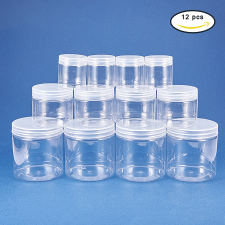BENECREAT 12 Pack 2.7/7.5/18oz Slime Storage Favor Jars Clear empty wide-mouth plastic containers with clear lids for DIY slime making
