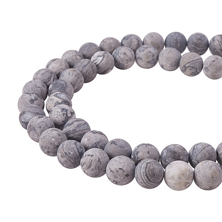 PandaHall Elite 8mm Frosted Natural Picasso Stone Beads Strands Round Loose Beads Approxi 15 inch 48pcs 1 Strand for Jewelry Making