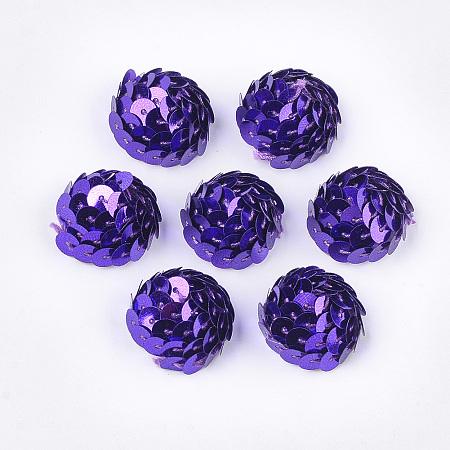 ARRICRAFT Foam Cabochons, with Sequins/ Paillettes, Half Round/Dome, Blue Violet, 19~21x11~12mm; about 200pcs/bag