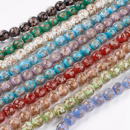 ARRICRAFT Handmade Gold Sand Lampwork Beads, Round, Mixed Color, 11~12mm, Hole: 1~2mm