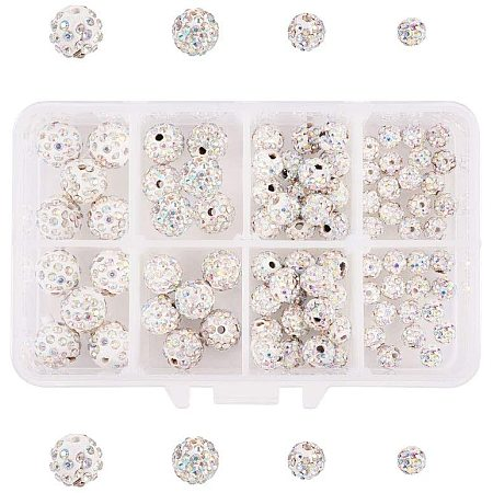 NBEADS 102 Pcs 6mm/8mm/10mm/12mm Pave Czech Crystal Rhinestone Disco Ball Clay Spacer Beads, Ivory Round Polymer Clay Charms Beads for Shamballa Jewelry Making