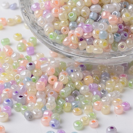 6/0 Ceylon Pearl Luster Plated Round Glass Seed Beads, Mixed Color, 3x4mm, Hole: 1mm; about 6500pcs/450g
