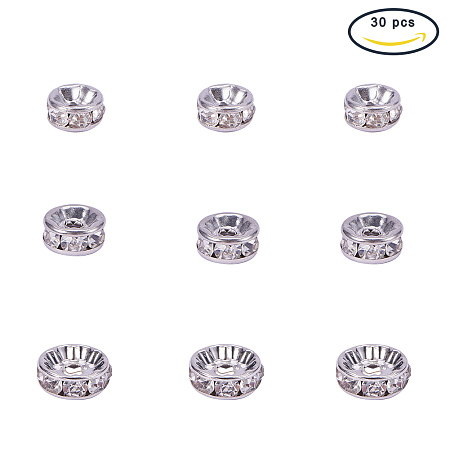 PandaHall Elite 30pcs Stainless Steel Rondelle Spacer Beads Crystal Rhinestone Round Rondelle Charms for Jewelry Making, 6mm 8mm 10mm