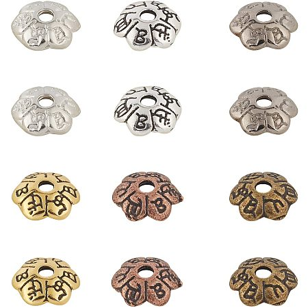 NBEADS 900 Pcs 6 Colors Flower Beads End Caps, Tibetan Style Flower Bead Caps Alloy Spacer Accessories for Jewelry Making