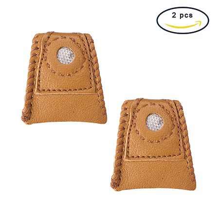 PandaHall Elite 2 Pack Leather Coin Thimble, for Protecting Fingers and Increasing Strength, Camel, 24x37x40mm
