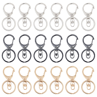 Alloy Keychain Clasp Findings, Snap Clasps, with Iron Rings, Mixed Color, 65mm, 3 colors, 6pcs/color, 18pcs/box