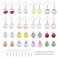 SUNNYCLUE DIY Dangle Earring Making, with Glass Ball Pendants and Brass Earring Hooks, Mixed Color, 21x15.5~16mm, Hole: 2mm, 32pcs/set