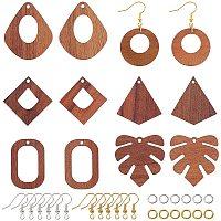 Olycraft DIY Dangle Earring Making Kits, include Undyed Walnut Wood Pendants, Brass Earring Hooks, Brass Jump Rings, Mixed Shapes, Golden & Silver, Pendants: 24pcs/box
