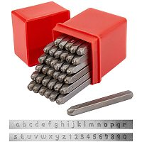 PandaHall Elite 36 Pcs Letter and Number Metal Stamp Set, Alphabet A-Z and Number 0-9, Iron Lowercase Stamps Punch Press Tool for Imprinting on Metal Jewelry Leather Wood