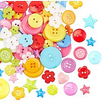 NBEADS 300g Acrylic Buttons, Mixed Shape Sewing Buttons for Kids Clothes Scrapbooking DIY Project and Crafting Decoration