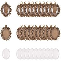 PH PandaHall 60pcs Bezel Pendant Blanks Settings - 30pcs Oval Pendant Trays Bezel Blanks with 30pcs Glass Cabochons Clear Dome for Photo Jewelry Making, Antique Bronze, 25x18mm