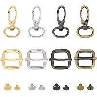 NBEADS 24 Pcs 4 Colors Keychain Lobster Clasp Slide Buckles and Sew Rivet for Lanyard Clip Hook and DIY Sewing Project