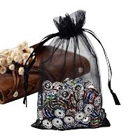 ARRICRAFT 100PCS 4x6 Inches Black Organza Gift Bags with Drawstring