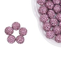 NBEADS 12mm 100pcs Pave Czech Crystal Rhinestone Disco Ball Clay Spacer Beads, Round Polymer Clay Charms Beads for Shamballa Jewelry Making
