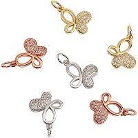 NBEADS 6 Pcs Butterfly Cubic Zirconia Charms Brass Micro Pave Cubic Zirconia Pendants for Bracelet Necklace Earrings Jewelry Making