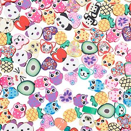 NBEADS About 80g Fruit and Animal Theme Handmade Polymer Clay Beads, Mixed Color Loose Slime Beads Soft Pot Beads Crafts Accessories for Jewelry Making