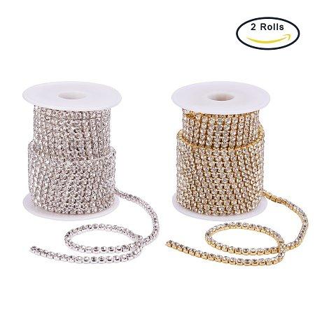 BENECREAT 2 Rolls 10 Yard 4mm Crystal Rhinestone Close Chain Clear Trimming Claw Chain Sewing Craft about 1965pcs Rhinestones - Crystal (Silver & Gold Bottom)
