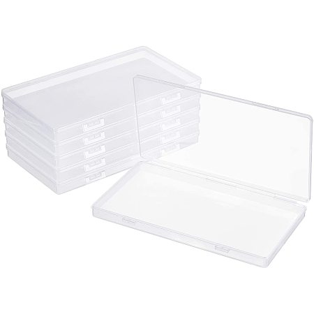 BENECREAT 6 Packs 7.5x4x0.6 Inch Large Clear Plastic Box Organizer with Double Clips Rectangle Storage Box for Extra Face Masks, Photos, Cards
