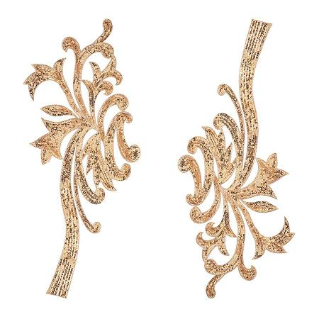 NBEADS Appliques, 1Pair 2042cm Yellow Goldenrod Embroidery Fiber Paillette DIY Garment Accessory Appliques Pastches by Sewing or Iron on for Cloth Dress Garment Jeans
