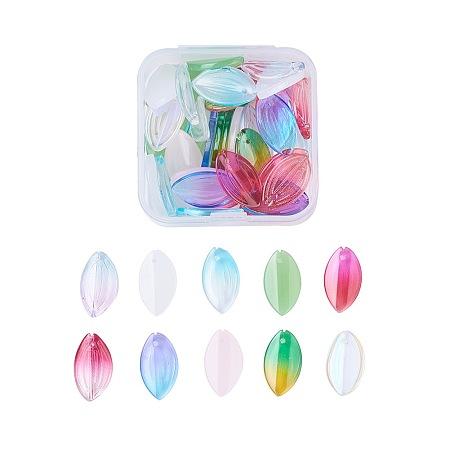 Nbeads Glass Pendants, Lotus Petal, Mixed Color, 20~21x12x3~3.5mm, Hole: 1mm; 5pcs/color, 50pcs/box