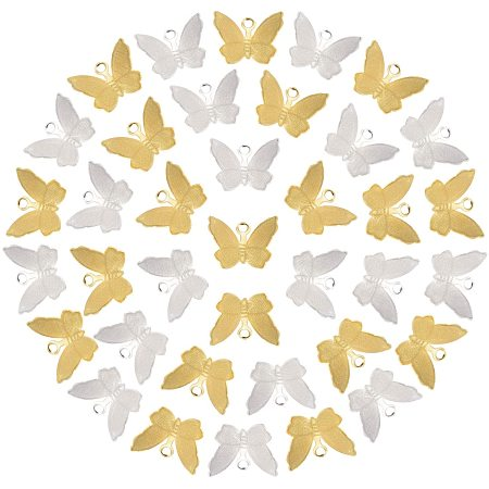 NBEADS 160 Pcs 2 Colors Butterfly Charms, Brass Mini Butterfly Animal Pendants for DIY Jewelry Necklace Bracelet Making