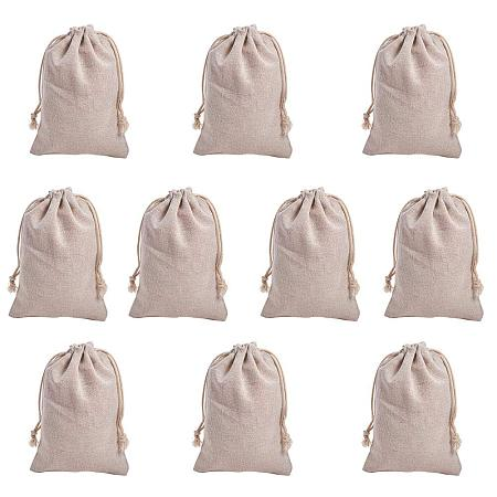 NBEADS 10 Pcs 6.7x4.7 Inch Wheat Cotton Gift Bags Samples Pouches Drawstring Bags Jewelry Pouches Favor Bags