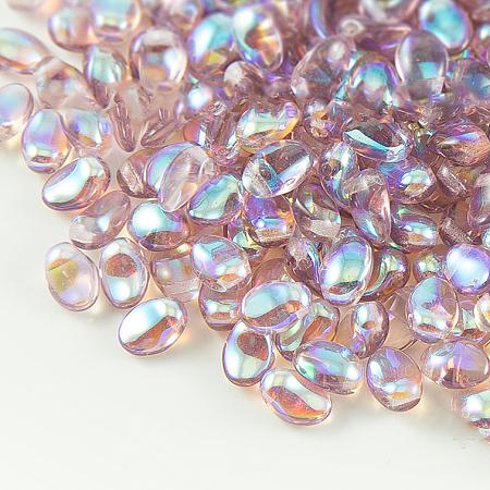 Nbeads Czech Glass Beads, Tulip Petal/Lily Petal, Thistle, 8.5x6x4mm, Hole: 1mm; about 37pcs/10g