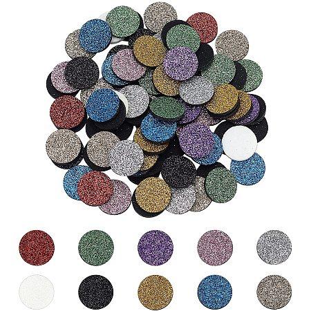 PANDAHALL ELITE Fibre Perfume Pads, with Glitter, Essential Oils Diffuser Locket Pads, Flat Round, Mixed Color, 22.5x2.5mm; 10 colors, 10pcs/color, 100pcs/set
