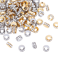 Olycraft Flat Round Alloy Rhinestone Bead Spacers, Mixed Color, 9~10x4mm, Hole: 4~5mm, 2 colors, 50pcs/color, 100pcs/box