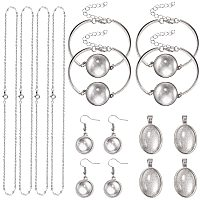 PandaHall Elite 60pcs Pendant Trays Sets - 10pcs Earring Hooks Sets, 5pcs Bracelet Bezel Settings, 10pcs Oval Pendants Necklace, 10pcs Necklace Chain for DIY Necklace Earring Bracelet Jewelry Making