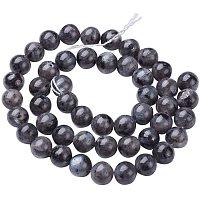 "Pandahall Elite 10 Strands 8mm Natural Labradorite Gemstone Round Loose Stone Beads for Jewelry Making 15.5"", Black (470~440pcs)"