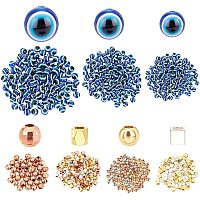 Pandahall Elite 300pcs 3 Size Blue Evil Eye Beads 6mm 8mm 10mm Resin Evil Eye Beads Charms with 4 Style 360pcs Spacer Beads for Halloween Bracelets Necklace Jewelry Making