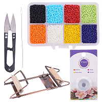 PandaHall Elite Bead Loom Kit With about 1600pcs 8 Color 12/0 Glass Seed Beads, Steel Scissors, Knitting Needle, Threads for Necklace Bracelet Jewelry DIY Making