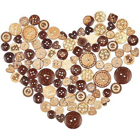 NBEADS 50g Coconut Sewing Buttons, Assorted 2 Holes/4 Holes Sewn-On Craft Buttons Round Brown Buttons for DIY Sewing Crafts Supplies