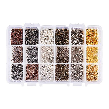 PandaHall Elite About 380pcs 6 Color 3 Styles 3mm Iron Brass Crimp Beads Clamp End Crimp Cover Tube Beads for Jewelry Bracelet Making