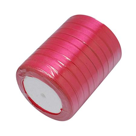 NBEADS 10 Rolls of 6mm Hot Pink Satin Ribbon Fabric Ribbon Silk Satin Roll for Bows Crafts Gifts Party Wedding; About 22.86m/roll