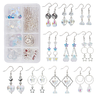 SUNNYCLUE DIY Dangle Earrings Making Kits, include Glass Beads & Pendants, Alloy Links Connectors & Charms, Brass Linking Round & Earring Hooks, Silver