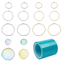 Olycraft Alloy Open Back Bezel Pendants, For DIY UV Resin, Epoxy Resin, Pressed Flower Jewelry, with Seamless Paper Tape, Mixed Color, 74x73x25mm; 36pcs/box