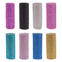 "BENECREAT 8 Rolls 24 Row Diamond Rhinestone Ribbon 4.75"" x 1 Yard Sparkling Mesh Ribbon for Arts & Crafts, Event Decorations - Mixed Color"